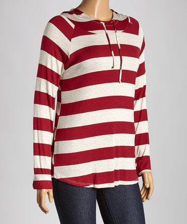 Look at this #zulilyfind! Burgundy & Oatmeal Stripe Hooded Top - Plus #zulilyfinds