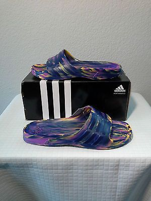 best cheap 2a877 749fd NEW ADIDAS DURAMO SLEEK SLIDES SANDALS MULTI-COLOR (AQ2154) WOMENS SIZE 9
