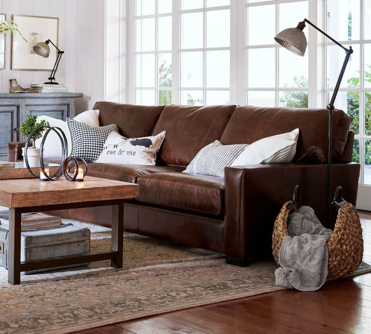 Turner Square Arm Leather Sofa In 2020