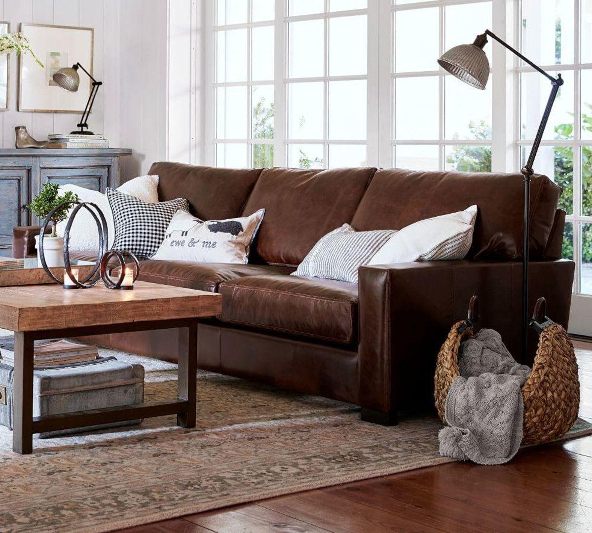 Turner Square Arm Leather Sofa Burnished Walnut 217 Cm Living Room Leather Brown Living Room Brown Leather Sofa Living Room