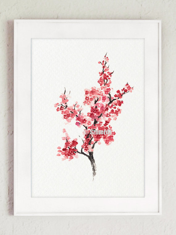 Cherry Blossom Tree Sakura Home Decor Minimalist Painting Abstract Flower Art Print Anese Flowers Living Room