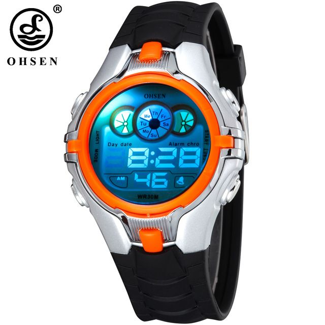 OHSEN New Digital Boys Kids Children Sport Watch Alarm Date Day Chronograph 7 Colors LED Back Light 3ATM Waterproofed Wristwatch //Price: $13.18 & FREE Shipping //