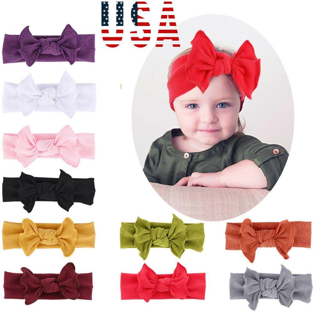 Baby Girls Toddler Big Bow Knot Hairband Kids Stretch Cloth Head Wrap Headband