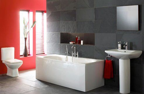 Red  Grey Bathroom For the home Pinterest Grey bathrooms