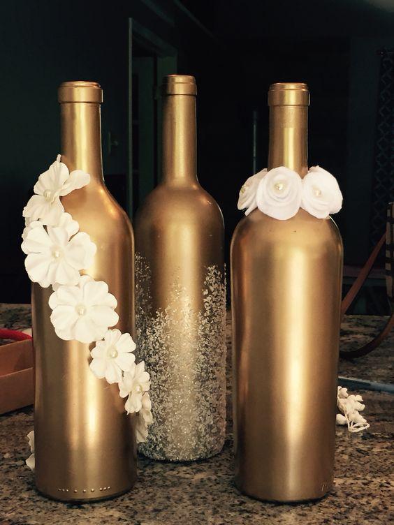 Gold Sprayed Wine Bottles Wedding Wine Bottles Wedding Bottles