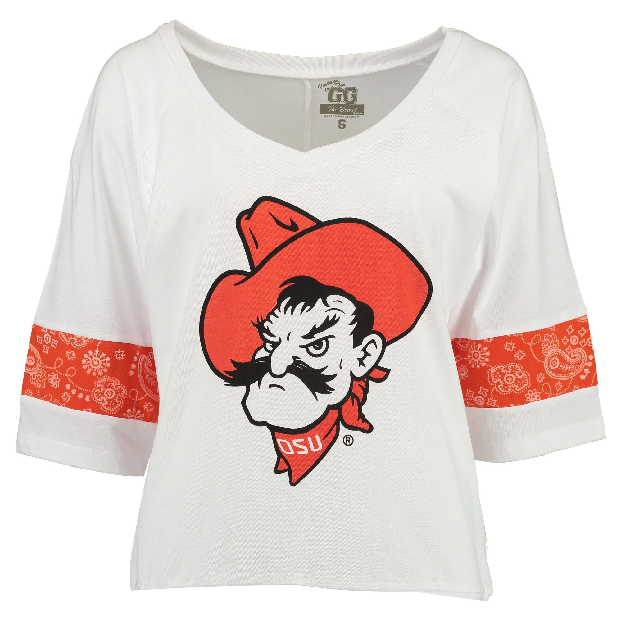 65ffcdc9b49 Oklahoma State Cowboys Women s White Overtime V-Neck with Bandana Insets  3 4 Sleeve T-Shirt