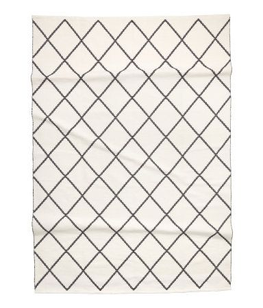 Baumwollteppich weiß  Großer Baumwollteppich | Weiß/Schwarz gemustert | Home | H&M DE ...