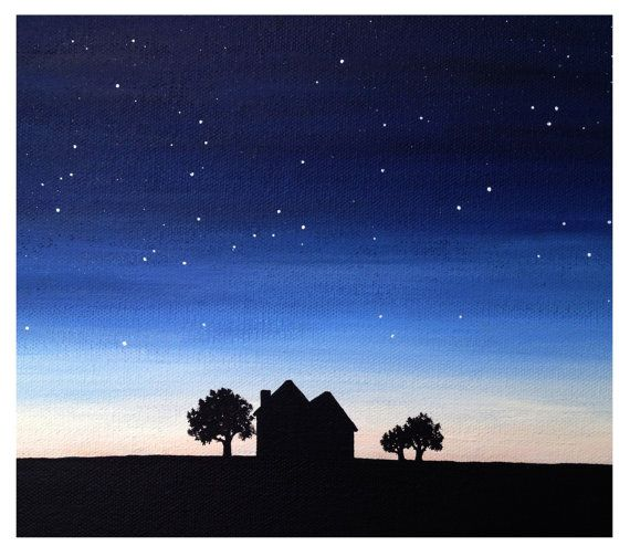 Original Landscape Painting of Sunset by LittleSparrowGallery