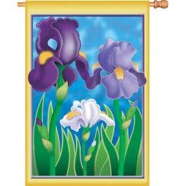 """Enchanting Irises"" Printed Seasonal Banner; Polyester 28""x40"" - #springtime #springflowers #gardenflag #flagsaflying"