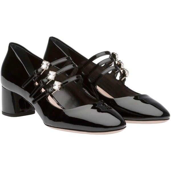 Miu Miu Pump (¥93,050) ❤ liked on Polyvore featuring shoes, pumps, black, mid-heel pumps, black patent leather shoes, mary jane shoes, black patent leather pumps and patent leather pumps