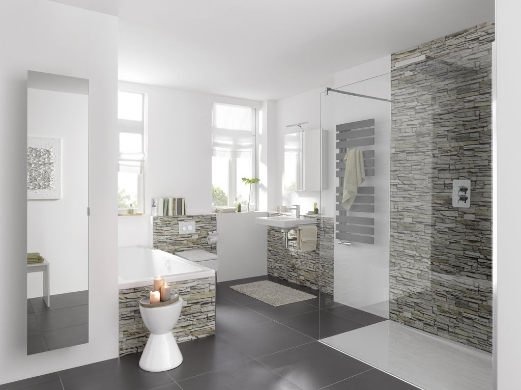 Hausdekorationen Und Modernen Mobeln Tolles Wasserfeste Platten Fur Badezimmer Fugenlose Wandver Badezimmer Ideen Grau Dekoration Badezimmer Badezimmer Dekor