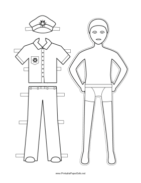 This free, printable Policeman Paper Doll has a snappy