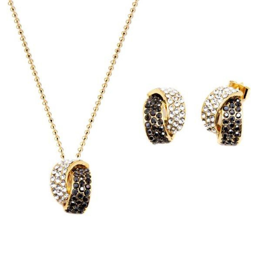 Black and white knot shape gold plated earrings pendant set with