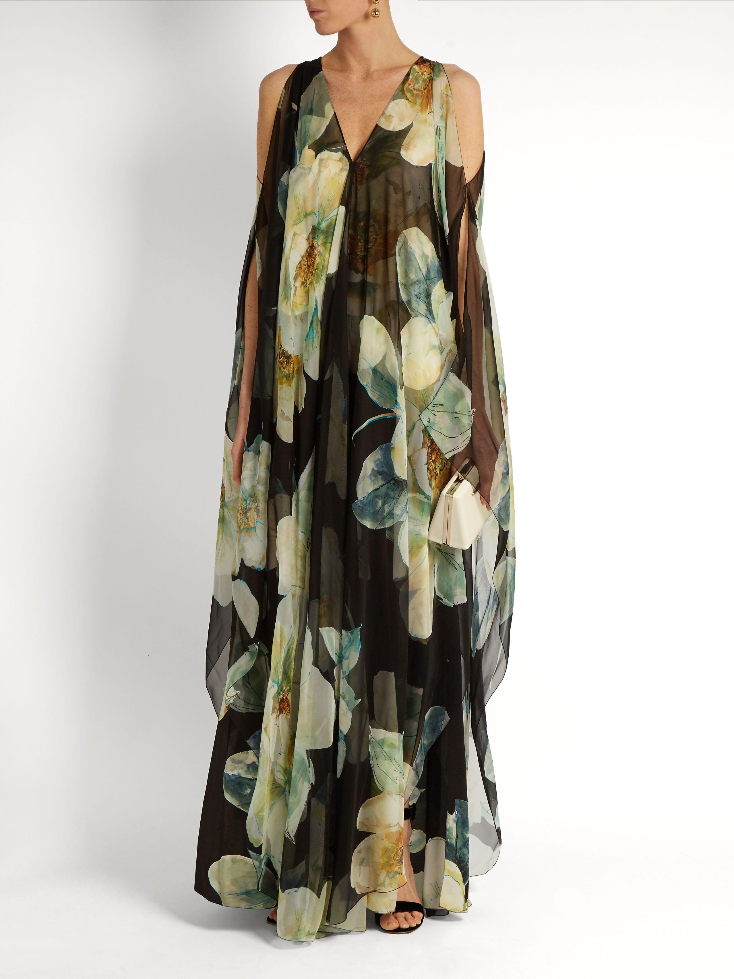 English Rose-print silk-voile gown | Lanvin | MATCHESFASHION.COM