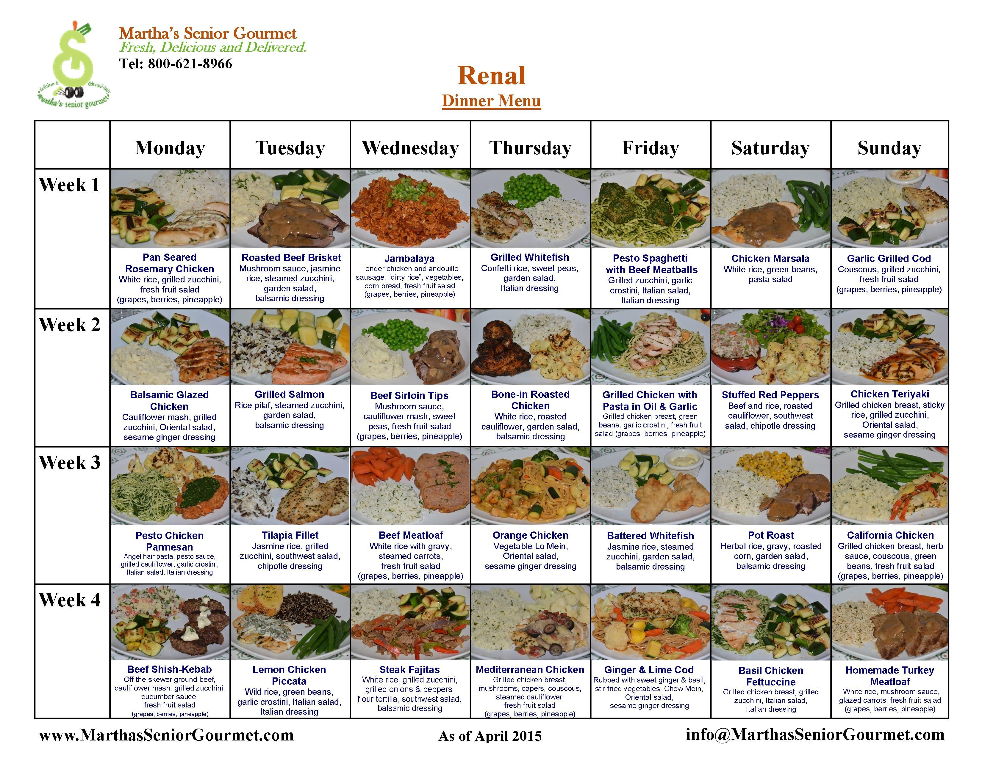 Renal Diet Menu Martha's renal diet foods are delicious