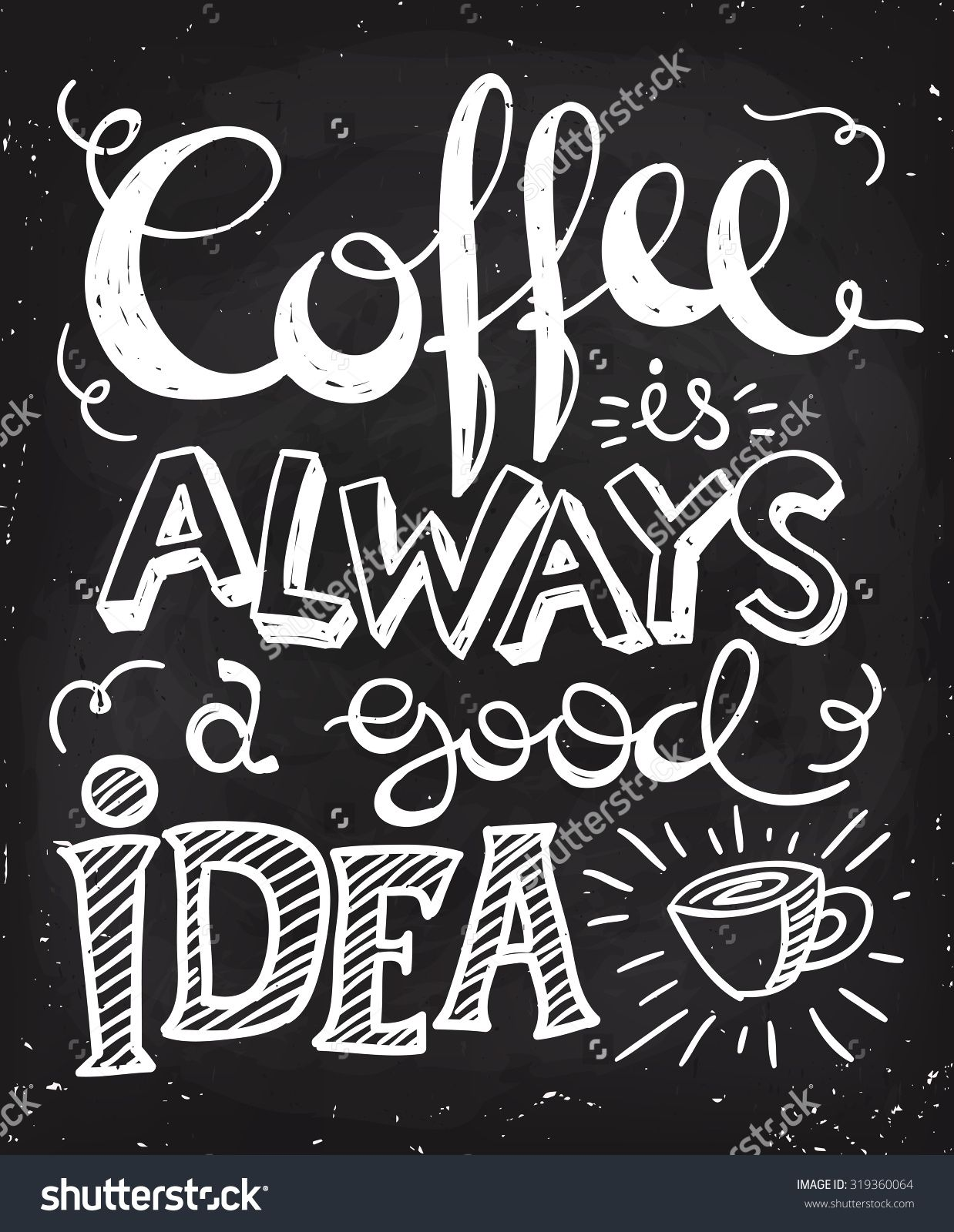 Coffee is always a good idea lettering. Coffee quotes