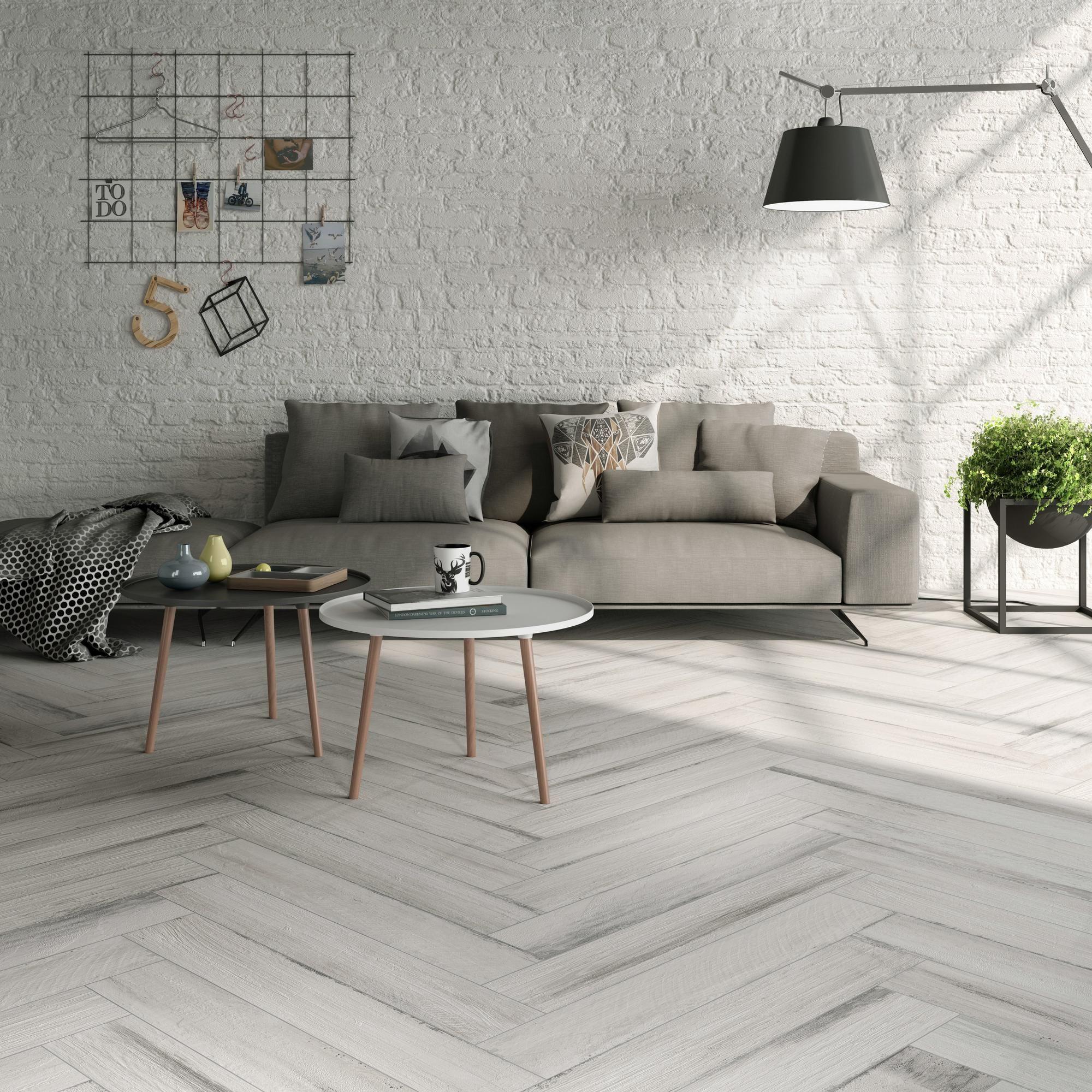 Lexington White Wood Plank Porcelain Tile Floor & Decor