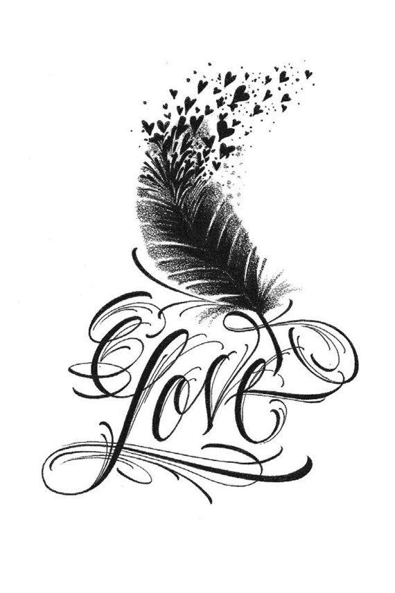 Petit Amour Plume Oiseau Tatouage Temporaire Par Madebytattooyou