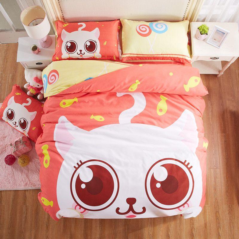Cute cartoon cat bedding set for girls high quality