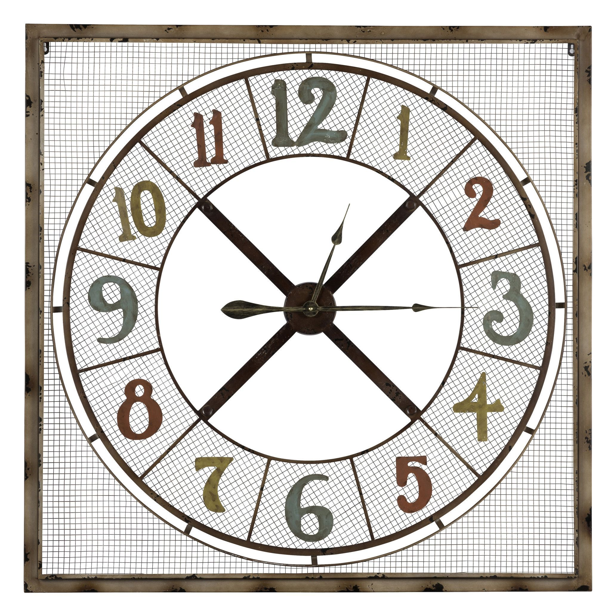 Maxwell Clock Light Brown Rusted Metal Finish with Red Gold and