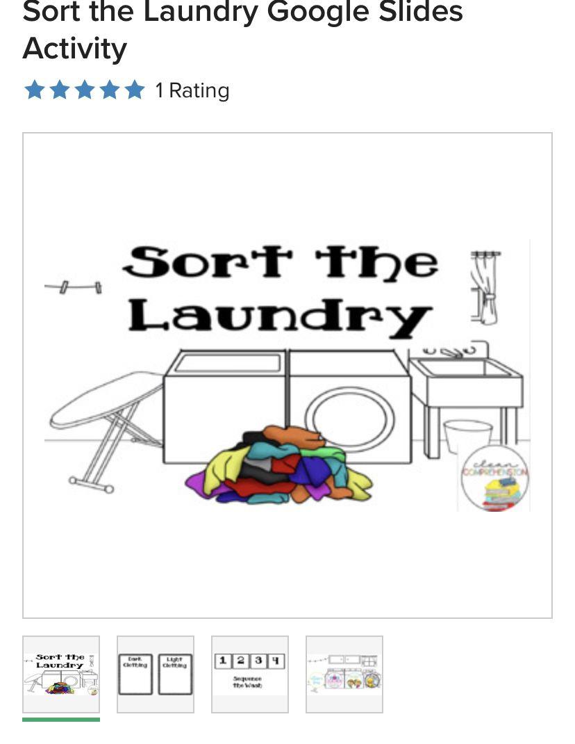 Free Google Slides Sort Laundry Activities Vocational Activities Life Skills Activities Life Skills