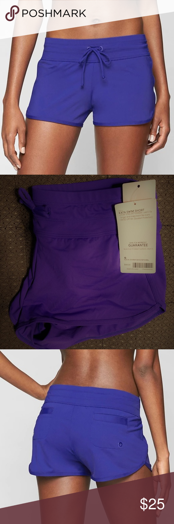 "Athleta Kata Swim Short Powerful Blue Small v159 Brand label has been marked to prevent returns to the retail store.  Second picture shows the color better ""Powerful Blue"".  NWT - may have been tried on at department store.  Semi-fitted, Mid rise Skims over the body for a just-right fit, sits below the natural waist Inseam: 2.5""  Ultra-comfortable wide waistband w/adjustable drawstring BUILT-IN BRIEF. Eliminates flash factor Two back welt pockets w/drainage grommets Nylon/Lycra® Spandex…"