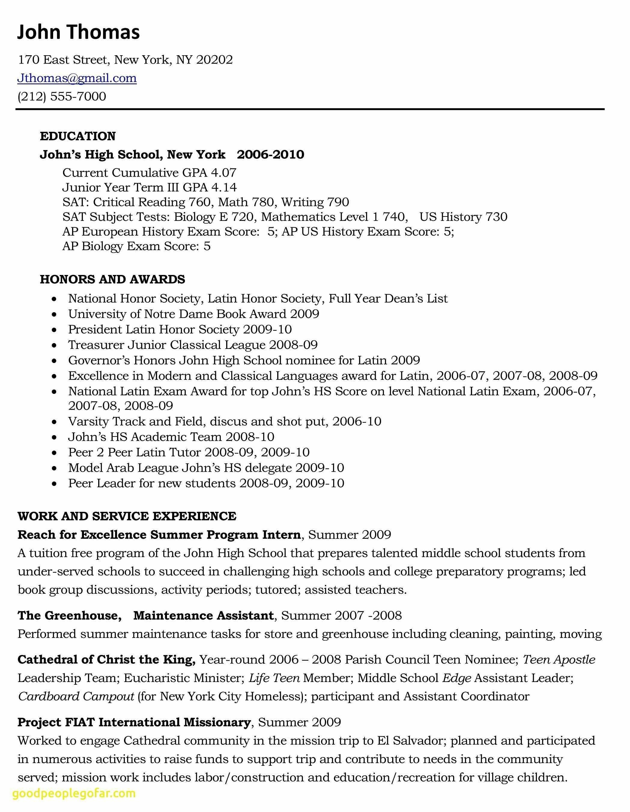 79 Luxury Stock Of Resume Cover Letter Examples For Highschool
