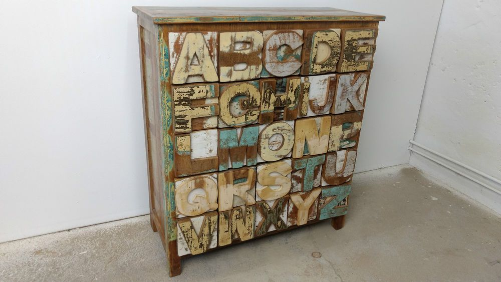 ABC Alphabet Massivholz Kommode Schrank Sideboard Anrichte Vintage ...