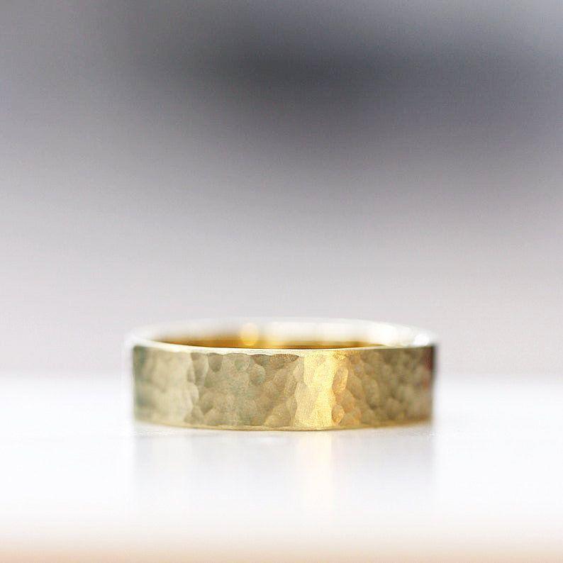 Textured Wedding Band Modern Mens Wedding Ring 14k Yellow Hand Hammered Wedding Ban In 2020 Hammered Wedding Bands Hammered Gold Wedding Band Modern Mens Wedding Rings