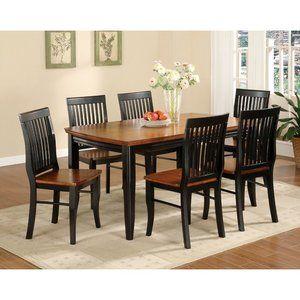 Hokku Designs Pedrina 7 Piece Dining Table Set in Vintage Black and ...