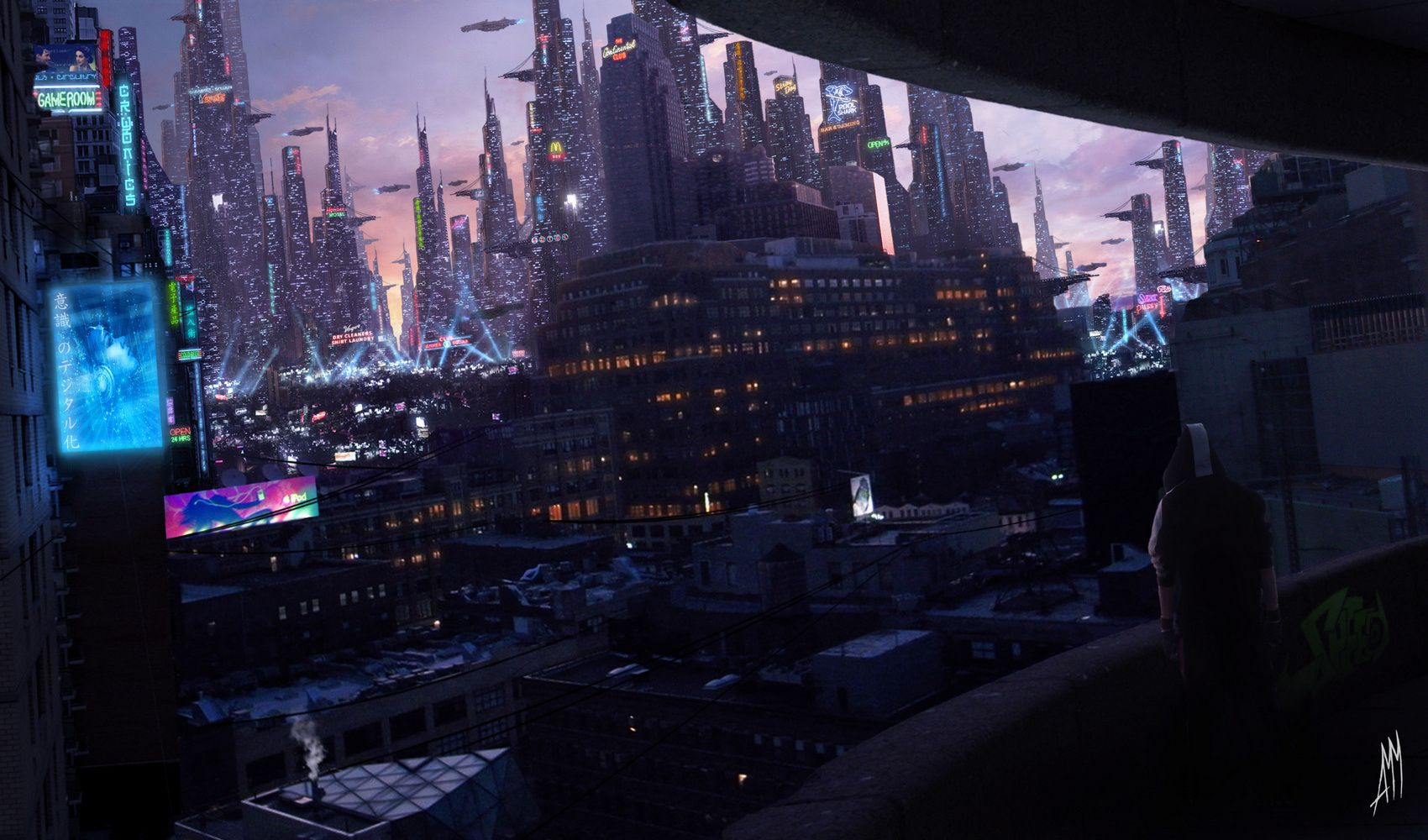 Download Wallpaper Cyberpunk Sunset City Lights Free Desktop Wallpaper In The Resolution 1700x1000 Picture 36 Cyberpunk City Futuristic City Cityscape