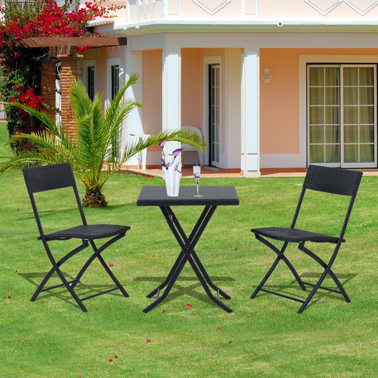 Outsunny Rattan Garden Furniture Bistro Set Outdoor Patio