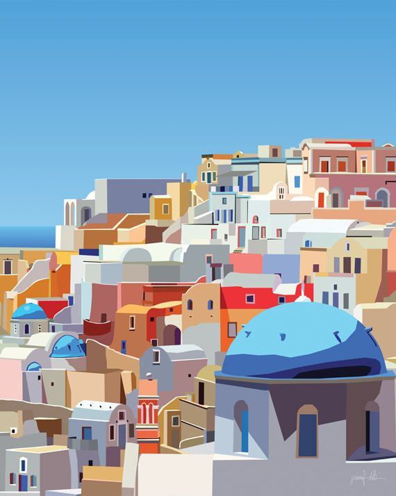 Photo of Santorini printable wall art Greek islands print Oia Santorini Greece wall art large Colorful artwork Mediterranean decor Santorini poster