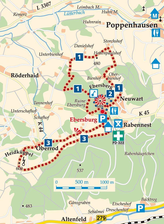 Rhon Rundweg 3 Ebersburg Karte Burg Wasserkuppe Ebern