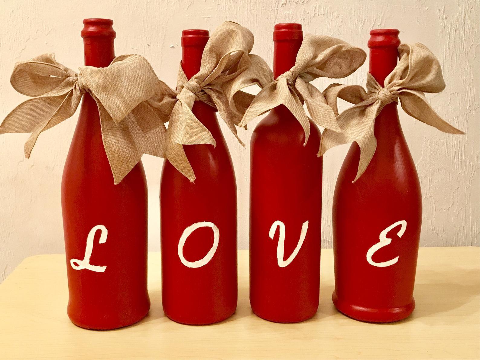 Love Wine Bottles Valentine S Day Decor Wedding Etsy In 2020 Valentines Wine Bottles Christmas Wine Bottles Hand Painted Wine Bottles