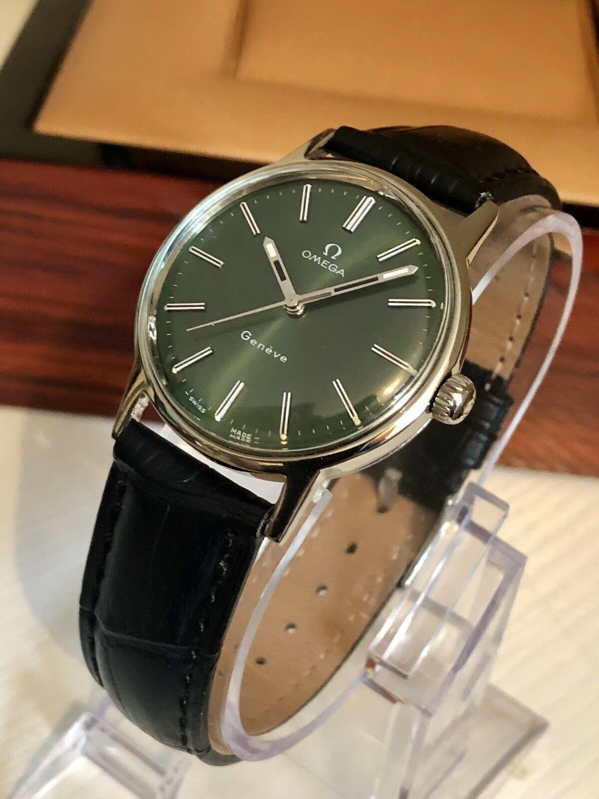 Omega Mens 1960 To 1969 Geneve Green Dial Face Vintage Watch Cal 601 Mechanical Gents Clock Box Omega Man Omega Vintage Watches