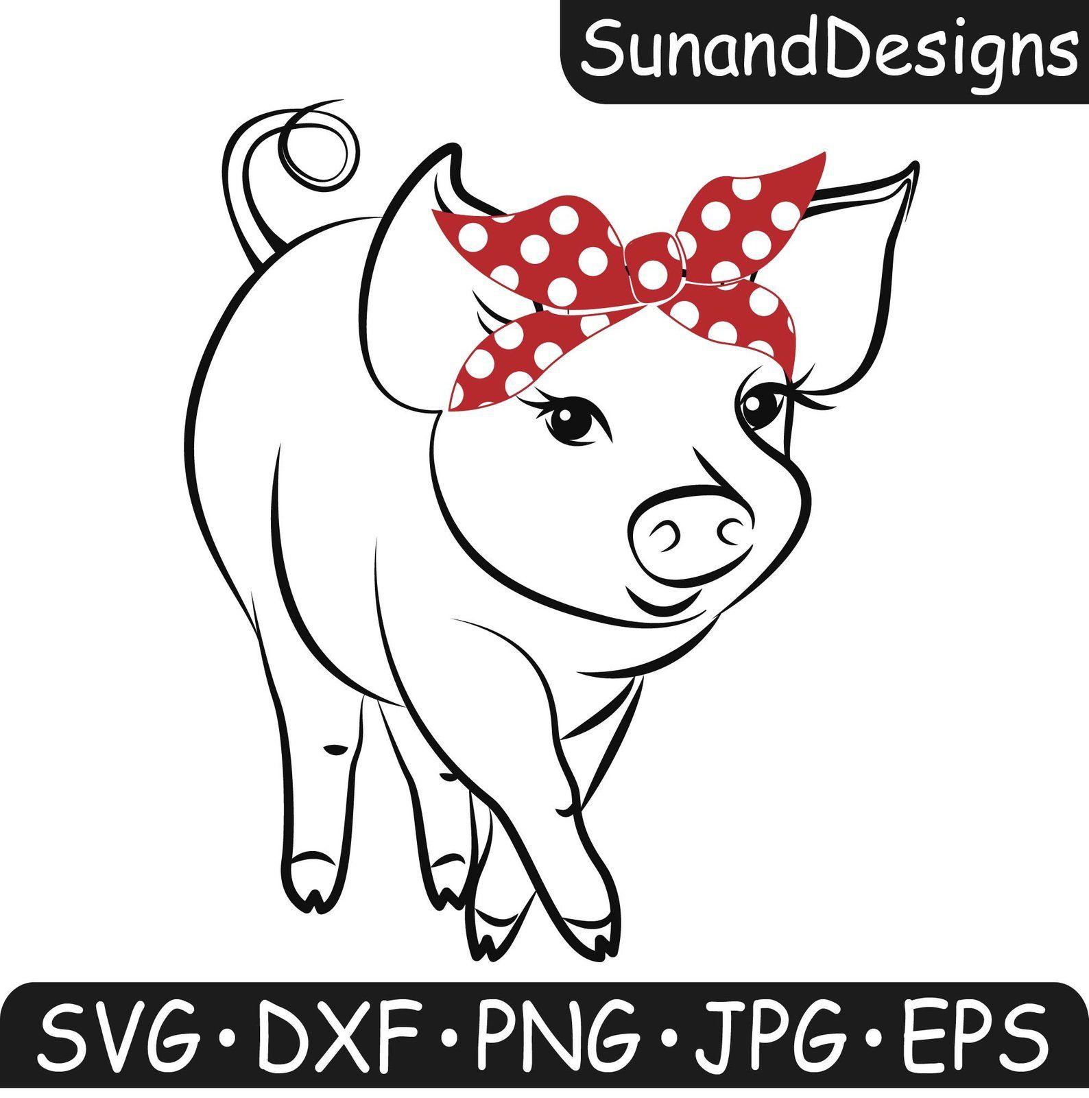 Pig Svg Bandana Svg Farm Animal Piglet Country DXF PNG  Etsy