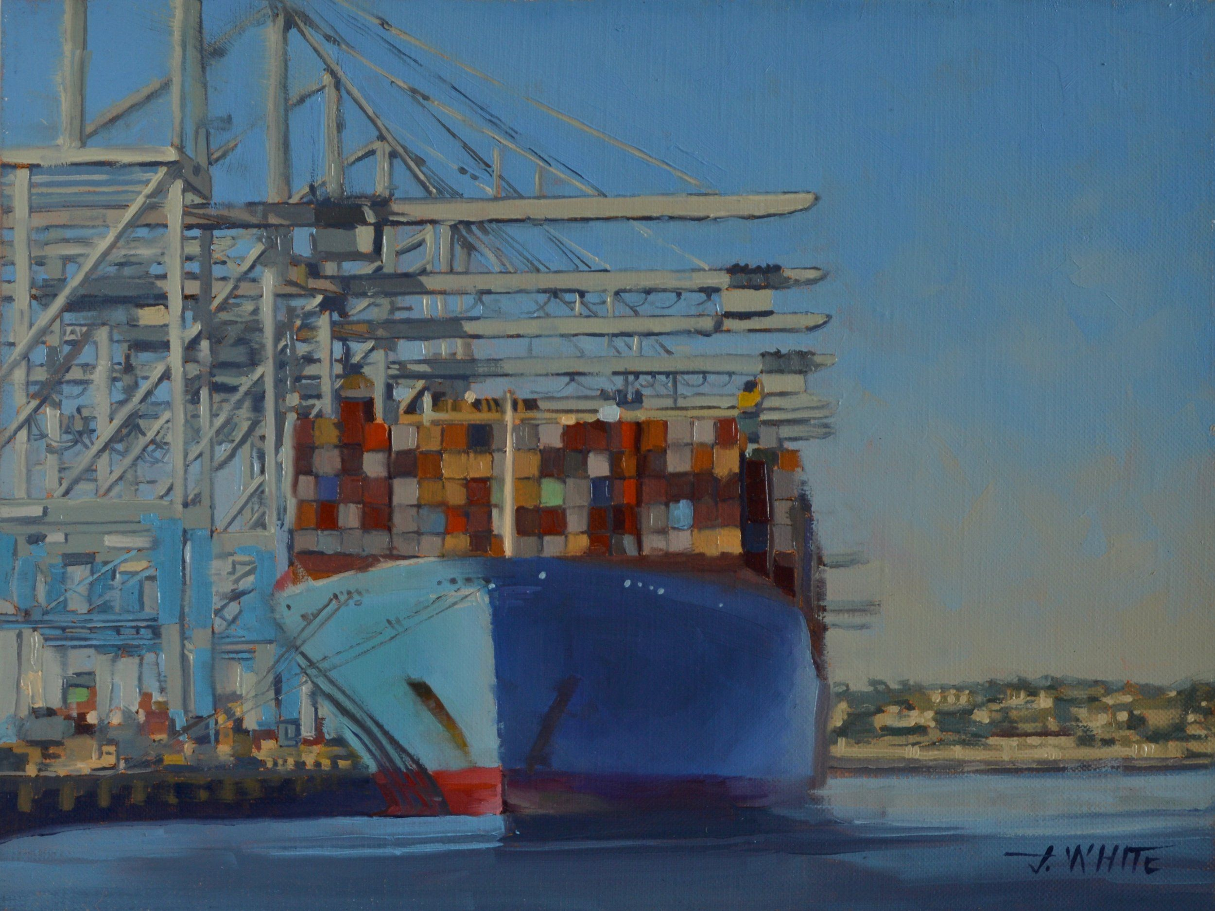 "For this piece, I wasn't able to follow my normal process by starting with a study because I wasn't allowed to paint on site here at the port. This is a scene of a container ship at the busy Port of Long Beach in southern California. It's fenced off and is very high security. All I had time to do was snap some photographs before being chased off by homeland security. I was happy with this one shot I was able to get and paint from.  This is a 12""x 16"" original oil painting and comes in a gallery"