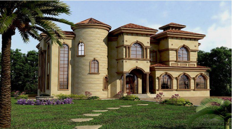 تصاميم فيلا خليجى نمط اندلسي أبعاد البيت 19 م عرض X 24 م عمق 6 غرف نوم Architectural House Plans Architecture House House Layouts