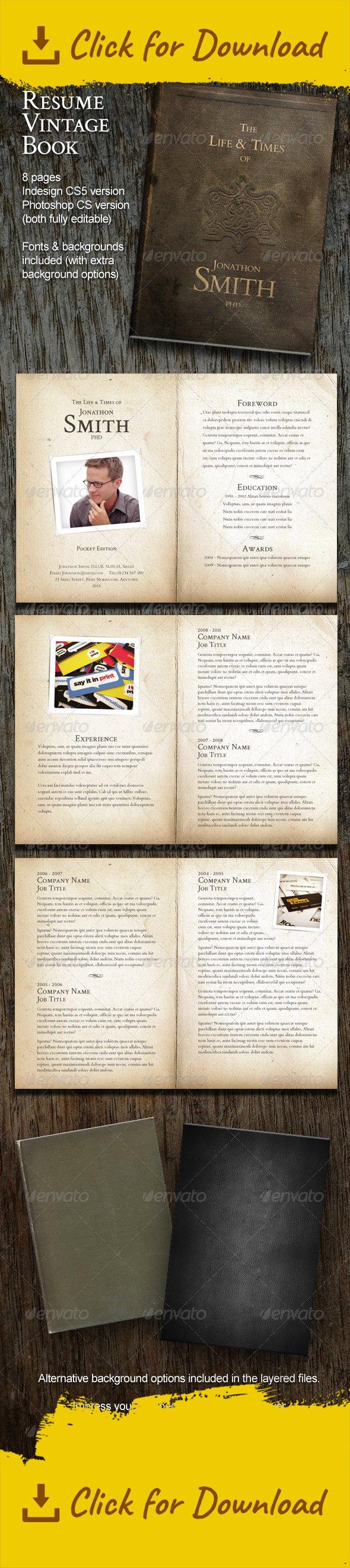 Resume Vintage Book (8 Pages) | Vintage books