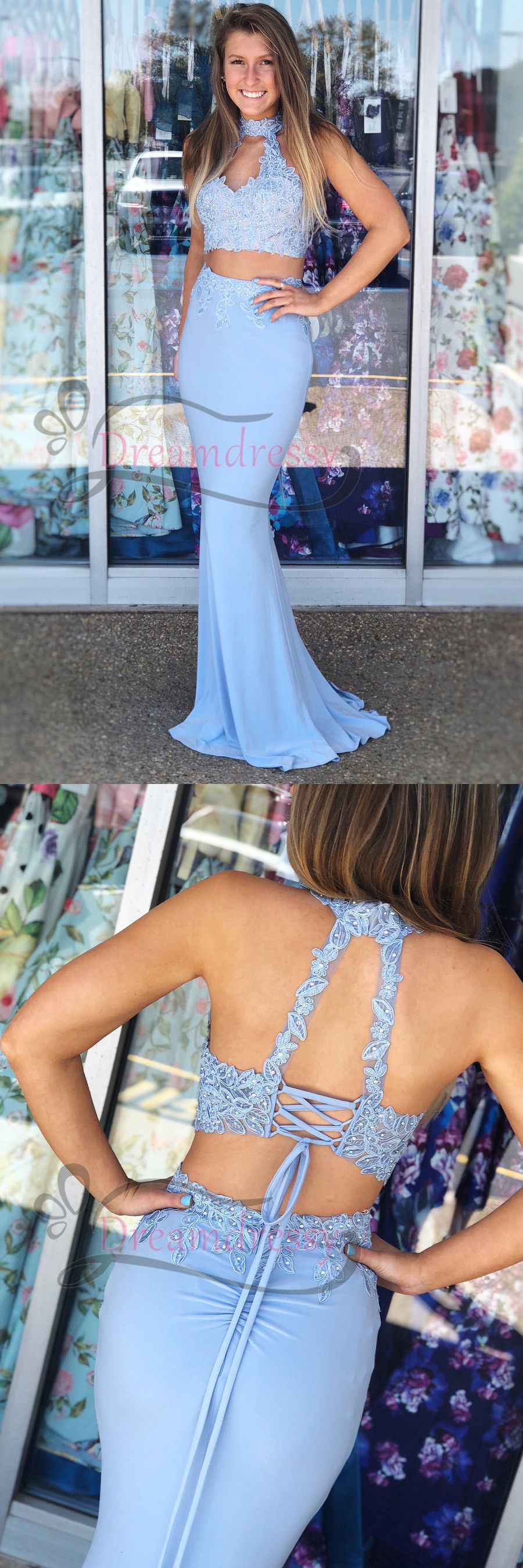 Gorgeous two piece light sky blue mermamid long evening dress in