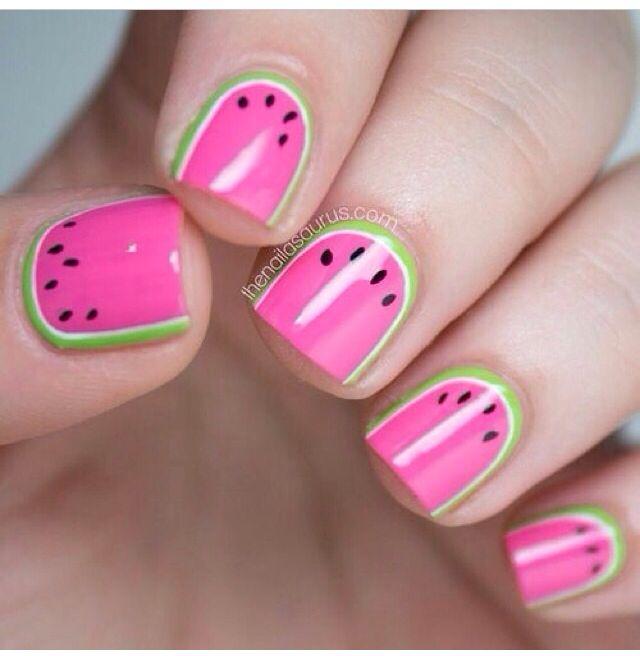 Lindo diseñó de uñas! Summer and watermelon