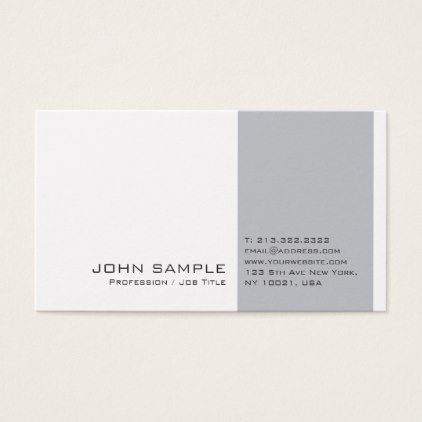 Creative Modern Professional Grey White Plain Business Card   Architect  Gifts Architects Business Diy Unique Create Your Own