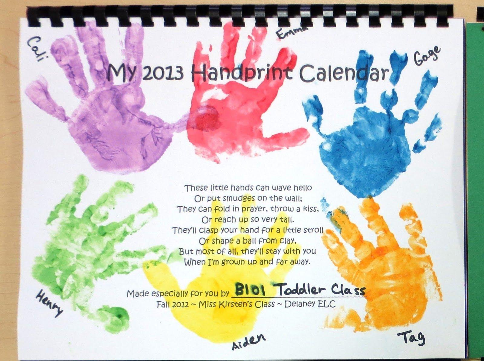 Cover Page Handprint Calendar Kids Calendar Handprint Calendar Preschool