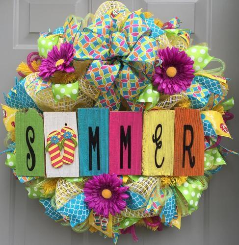 6e279f9c696bd Welcome Summer Flip Flops Deco Mesh Wreath