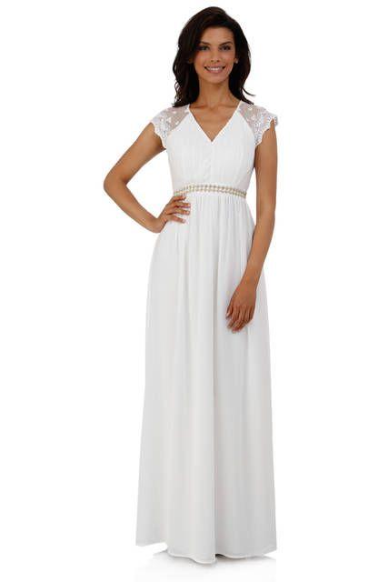 efe667d61d4 Robe longue en mousseline blanc