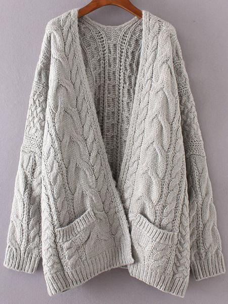 60a52c4d3 Grey Chunky Cable Knit Sweater Cardigan