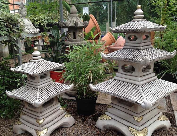 Gentil Statue De Jardin Zen En Béton De Ciment En Forme De Maison Chinoise  Traditionnelle