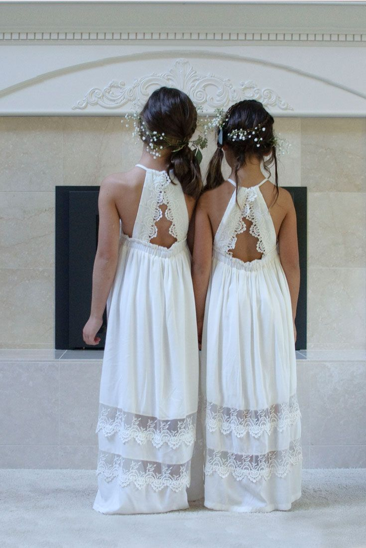 Long Lace Flower Girl Dress, Lace Back Dress, Lace Flower Girl Dresses, Flower Girl Dress Boho, Girl