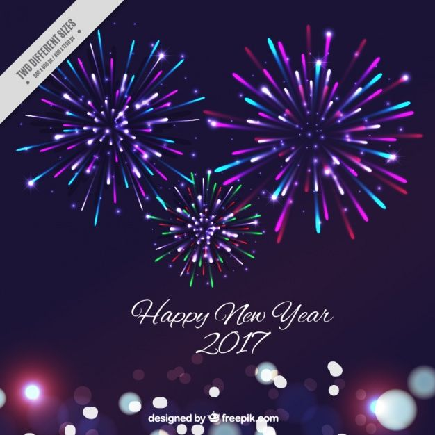 new year background with colorful fireworks free vector 素材
